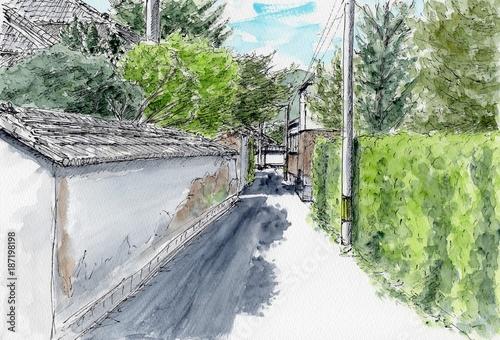 Fotobehang Olijf 萩の町
