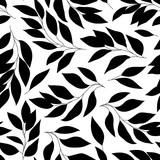 Black and white seamless pattern with leaves, vector background.
