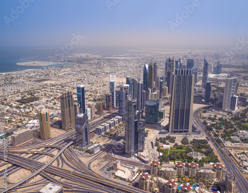 Deurstickers Dubai Aerial view of the Jumeirah area of Dubai, Uniated Arab Emirates