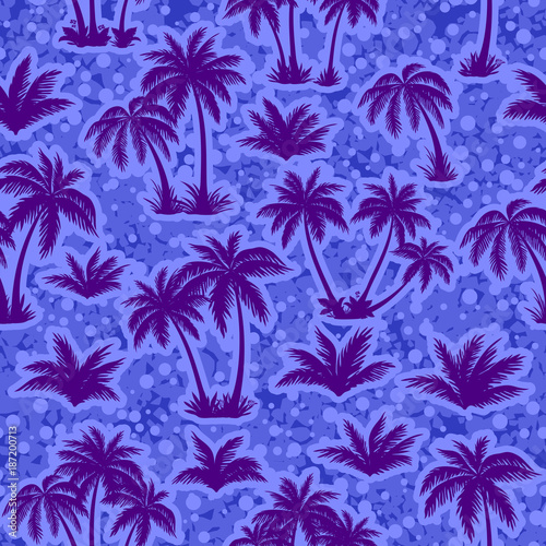 Plexiglas Violet Exotic Seamless Pattern, Tropical Landscape, Palms Trees Blue Silhouettes on Abstract Tile Background. Vector