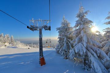 Seilbahn Winter im Fichtelgebirge am Ochsenkopf