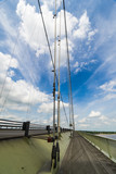 Looking North along the Humber Bridge cycle and pedestrian path,  England, UK. - 187202781