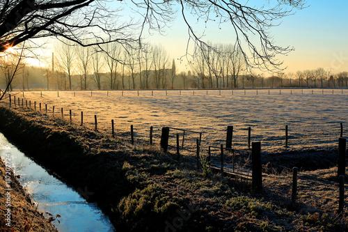 Fotobehang Ochtendgloren Winter morning in the Province Limburg, The Netherlands