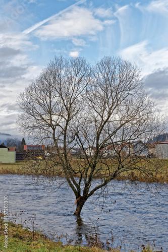 Deurstickers Blauwe hemel La Moselotte,rivière en crue