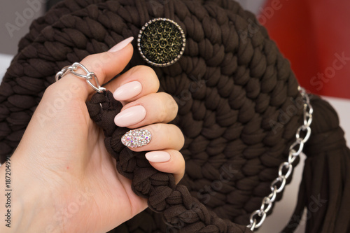Foto op Canvas Manicure Beautiful natural nails and attractive manicure on women hands.