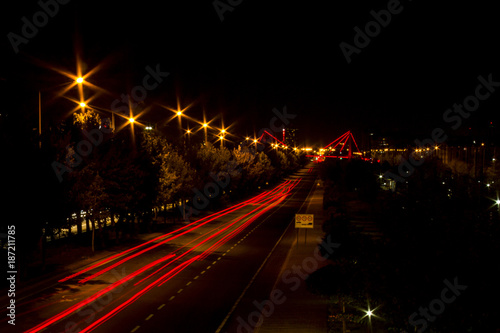 Foto op Canvas Nacht snelweg road night long exposure up