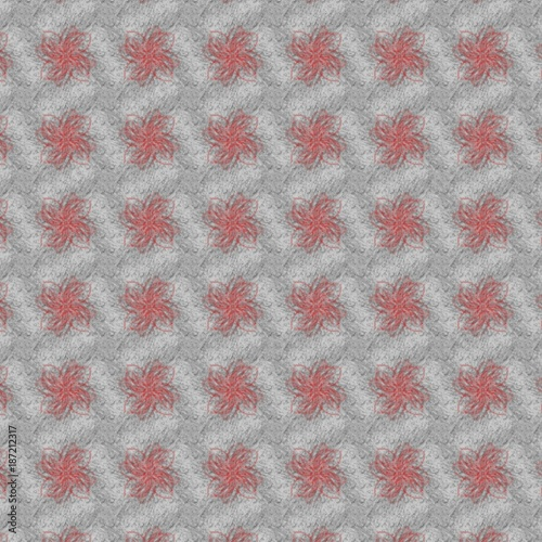 hand drawnd red floral abstract pattern  - 187212317