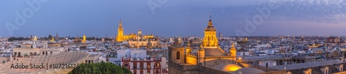 Aerial panorama view of seville city skyline at dusk,Spain