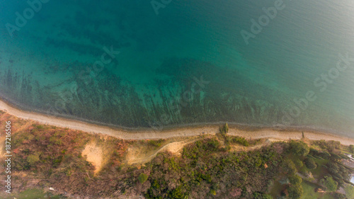 Bird's eye view of sea shore.