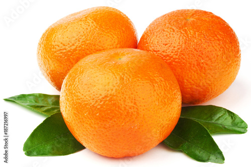 Tangerines isolated on white - 187216997