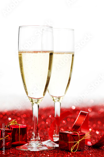 Foto Murales Champagne and red decor
