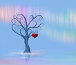 A lonely tree with a heart on the background of northern lights