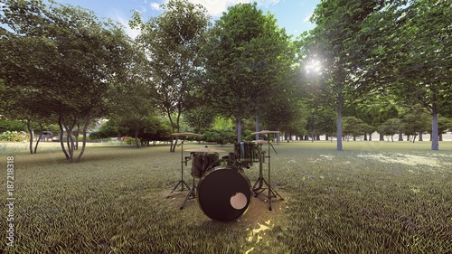 a black drums kit in the forest front view - 187218318