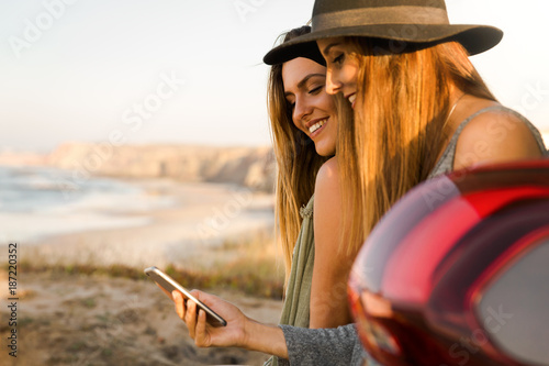 Girl showing something on the phone