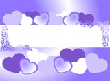 frame of blue hearts on valentine's day - 187222375