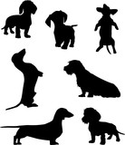 Silhouettes of dachshunds. Vector illustration. Set 2