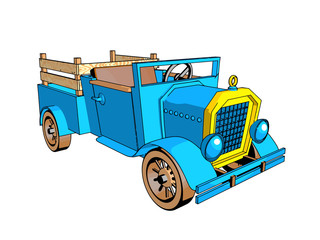 car cartoon style retro design blue color old interesting different kinds of cards isolate white background