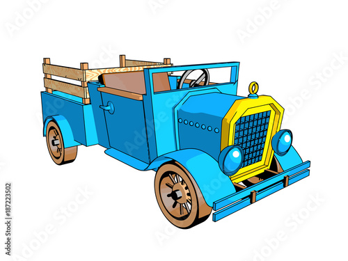 Fotobehang Auto car cartoon style retro design blue color old interesting different kinds of cards isolate white background