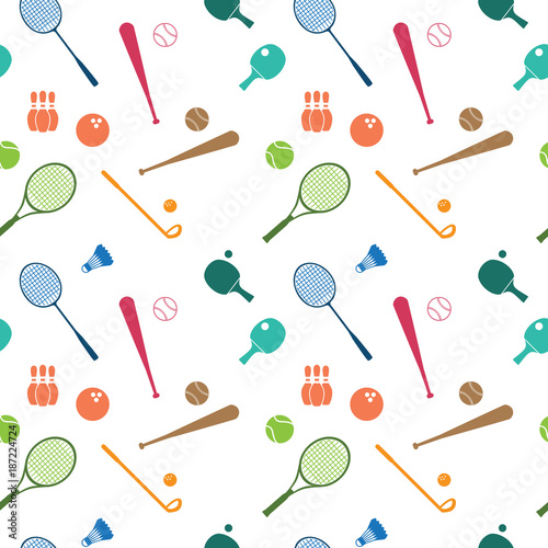 Staande foto Bol Repeating Seamless Pattern Wallpaper Sport Badminton Tennis Golf Bowling