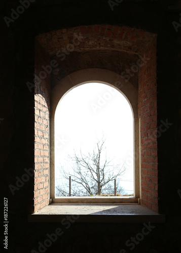 bright window of a ancient fortress
