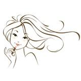 Скетч девушки с локонами - 187227303