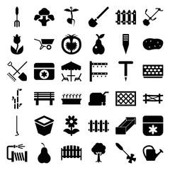 Garden icons. set of 36 editable filled garden icons