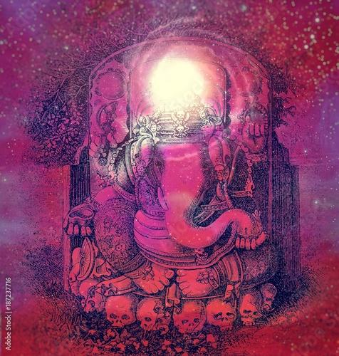 Plakát Ganesha on starry background