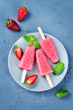 Strawberry banana ice cream with mint and strawberries