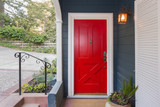 Red Entry Door / Front Door with single cylinder entrance electronic handle-set. - 187240130