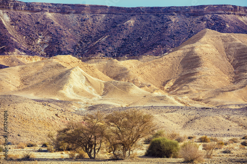 Foto op Canvas Aubergine Mountain landscape. Multi-colored mountains