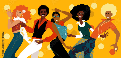 Fototapeta Group of young people dressed in 1070s fashion dancing in a disco club, EPS 8 vector illustration