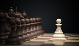 Chess battle begins. Chess opening move - pawn in center of board. 3D rendered illustration.