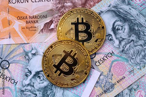 Golden bitcoin and Czech cash money Poster