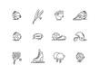 Line icons sport games equipment. Baseball, basketball, football.