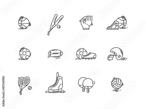 Fridge magnet Line icons sport games equipment. Baseball, basketball, football.