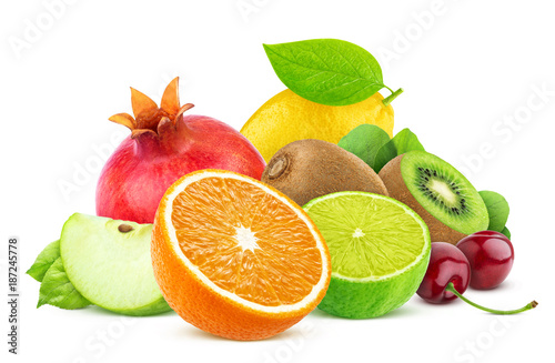 Foto Murales Fruits isolated on white background