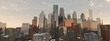 the sun over the city. panorama of the city sunset. 3D rendering