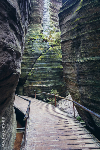 Tourist trail in Adrspach Rocks, part of Adrspach-Teplice National Park in Czech Poster