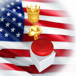 The Idiot King Of America With A Button 3D Illustration