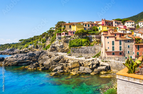 Fotobehang Liguria Panoramic view of beautiful colorful houses of Tellaro village, Lerici, La Spezia, Italy