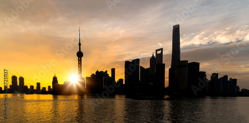 Fotobehang Shanghai Sunrise of Shanghai skyline Pudong building most prosperous urban groups of panoramic view in the morning. Shanghai China City scape of business district trade zone.