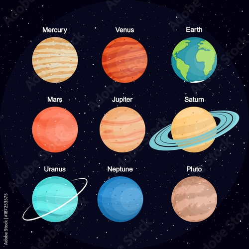The set of planets of the solar system against the background of space. Planet names. In flat style. Cartoon. - 187253575