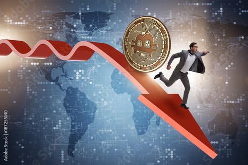 Foto op Aluminium Kasteel Bitcoin chasing businessman in cryptocurrency price crash