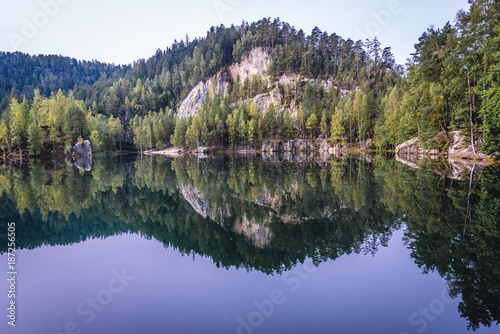 Lake in Adrspach Rocks, part of Adrspach-Teplice National Park in Czech Republic Poster