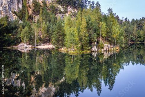 Lake in Adrspach Teplice Rocks landscape park in Broumov Highlands region of Cze Poster