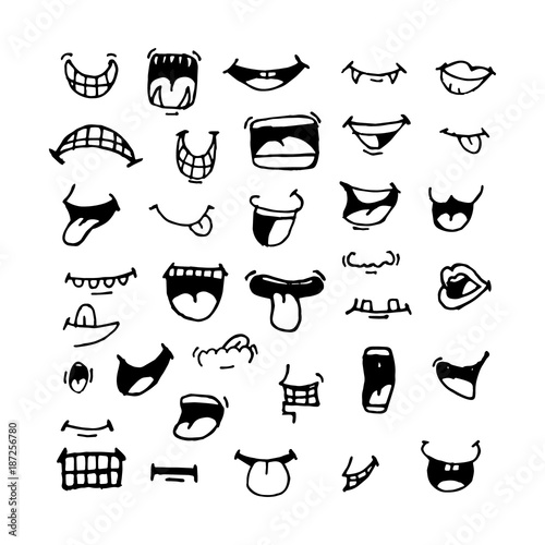 Seth doodle mouths. From the hand drawn cartoon emotions. Vector illustration - 187256780