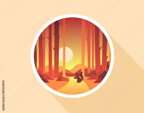 Keuken foto achterwand Beige Flat nature icon. Round icon of nature with a landscape. Beautiful icon in modern style. Vector illustration
