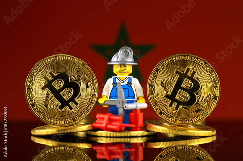 Keuken foto achterwand Marokko Physical version of Bitcoin, miner and Morocco Flag. Conceptual image for cryptocurrency mining and Blockchain Technology.
