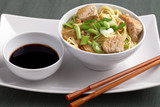 Udon noodle soup with chicken and soy sauce - 187261144