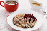 Boiled meat with buckwheat porridge - 187261161